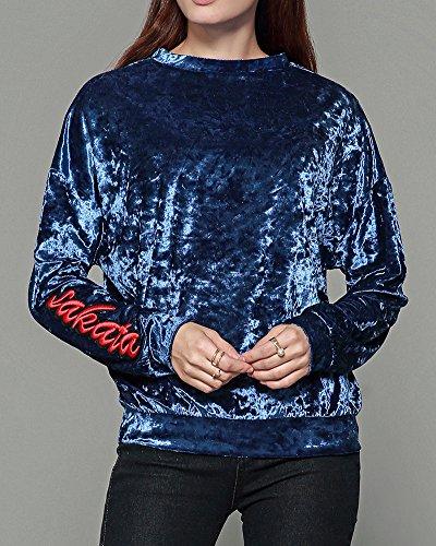Donna Bluse Camicetta O-Collo Magliette T-Shirt Maglia Lunga Camicia Maniche Lunghe Girocollo Vestibilità Slim Blu