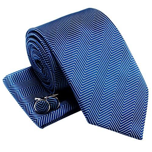 Da uomo a spina di pesce Stripe Woven cravatta w/tasca quadrato e gemelli set regalo Blue Taglia unica