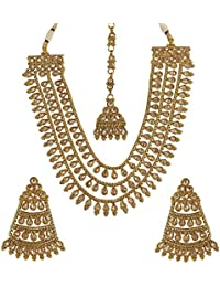 MUCH MORE Brass Made Gold Plated Ethnic Design Polki Necklace Set For Women