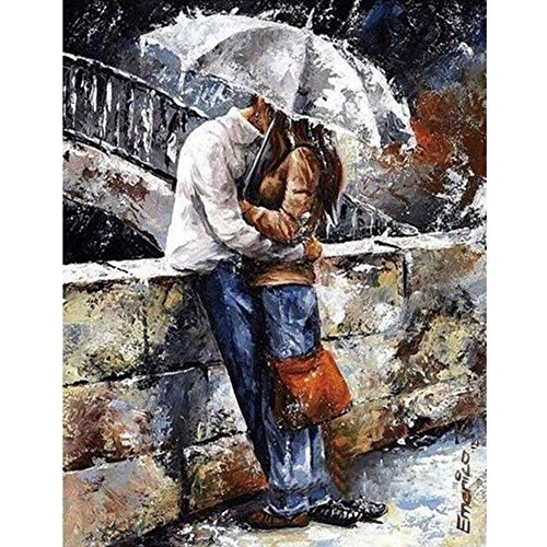 Mumustar 5D DIY Diamond Painting Kits, Lovers Kissing In The Rain Patterned Resin Rhinestone Pasted Mosaic Embroidery Cross Stitching Kits Handcraft Art Mural Home Wall Decor