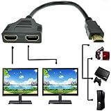 ZY Câble adaptateur répartiteur HDMI mâle vers double HDMI femelle 1 à 2 voies pour TV HD, prend en charge deux téléviseurs e