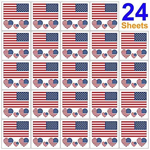 Szseven Sticker - Party Event Celebration Supplies , Temporäre United States Patriotic Tattoos Sticker 4. Juli Tattoos Independence Day Party Zubehör Accessories (Gesichts-make-up-chart)