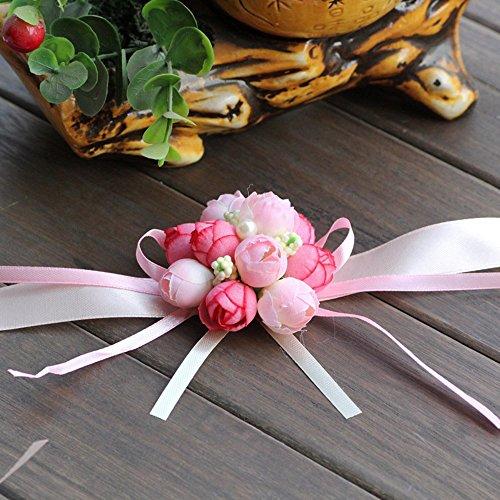 Smartrich mano artificiale fiore panno piccolo boccioli di rosa bouquet da polso bracciale elastico per wedding decor party, panno, pink, 6*6*6cm