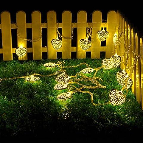 5m 20 LED Herz Lichterkette String Lights für Außen Landschaft,