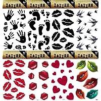 grashine 8pcs diferentes largo pasado y realista Tatuajes Temporales En 1 Paquete, se incluye,