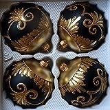 Matte Schwarze Weihnachtskugeln aus Glas mit Goldenen Glitzerapplikationen - Durchmesser 10 cm 4er Set