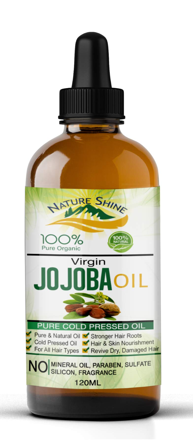Jojoba Oil Nature Shine 100% Organic 120ml Pure & Natural Cold Pressed Aromatherapy Unrefined Moisturizer for Face, Hair, Skin, Nails, Cuticles, Stretch Marks & Sensitive