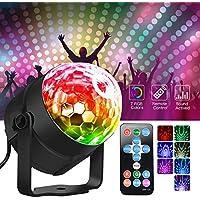 METALBAY LED RGB Luces de Discoteca Ritmo de Sonido Mini Bola Mágica Cristal Giratoria para Discoteca, Bar, KTV, Club, Fiesta, Cumpleaños