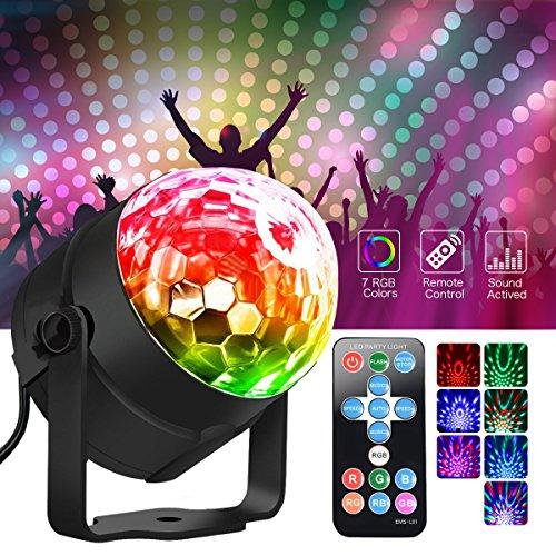 Metalbay LED Discoteca Party luci RGB LED AC85-240V 5W Ball Lighting Light DJ Disco Stage lampada multicolore con telecomando per Anniversary Party KTV regalo di Natale…