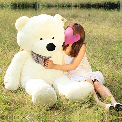 VERCART Schönes Geschenk Plüschbär Teddybär XXL Riesen Gentleman Plüsch Bär Puppe Weiß XXL 130CM