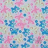 Baumwolle Popeline Schmetterlinge grau 24-002