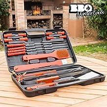 Valigetta Utensili Grigliata BBQ Master Tools (18 pezzi) Acciaio Inox Barbecue (4 Acciaio Inossidabile Spiedini)