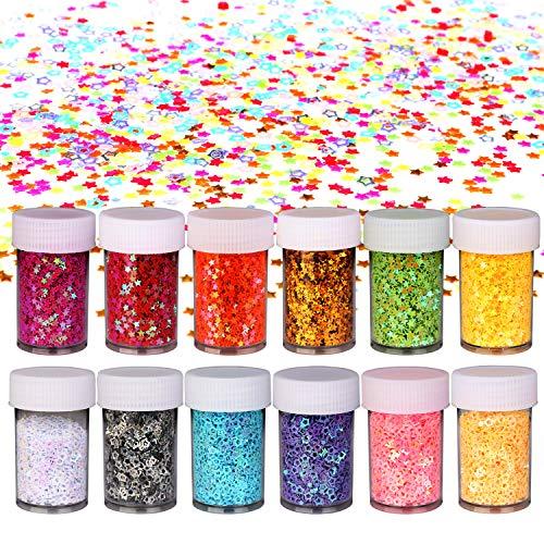 (OOTSR Multicolor Manicure Glitter Star Confetti für Partydekoration (12er Pack) - Tisch Konfetti Partybedarf (180g) für Nail Art Polish Hochzeit Funkel funkel Kleiner Stern Baby Dusche)