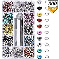 300 Piezas Kit de Ojetes Ojales de Metal Artesanía de Zapatos Ropa, 10 Colores (3/16 Pulgada)