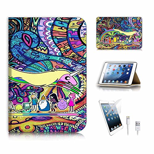 (für iPad Mini 1 2 3, Generation 1/2/3) Flip Wallet Schutzhülle & Displayschutzfolie & Ladekabel Bundle. a6789 Adventure Time Graffiti