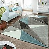 TT Home Tappeto moderno a pelo corto, per soggiorno, con bordi sagomati, design triangolare, turchese pastello, 120 x 170 cm