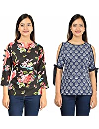 f5de133bf50f1 Timbre Women s Stylish Blue Cold Shoulder   Black Cut Sleeves Tops Combo  Pack ...
