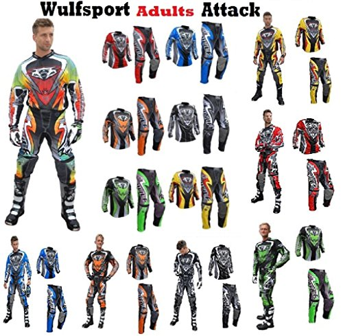 WULF ATTACK Adulti Tuta Moto Pantaloni e jersey MotoCross Scooter Enduro Sci Tuta da ginnastica (Adulti Tuta)