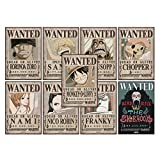 ABYstyle - One Piece - Lot de 9 Posters Wanted 52x35cm (Luffy Zoro Nami Usopp Sanji Chopper Robin Franky Brook)