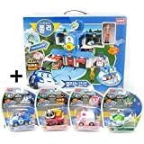 Robocar Poli Convertible Rescue Center Headquarter Play set & 4 pcs Diecast Toy(Poli, Roy, Amber and Heli) by Robocar Poli