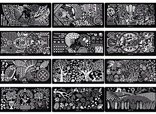 NEW Nail Art 5 x XL Stamping Set pochoirs env. 250 motifs manucure Kit ongles extra large accessoires pour ongles Design d'entretien