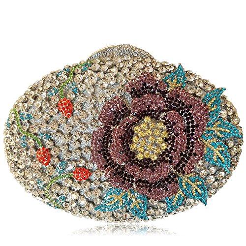 Donne Borse sera di lusso fiore Strass Portafogli donna bellezza preferito borsetta party di nozze portamonete frizione telaio metallico F