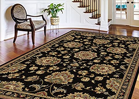 Universal Rugs Charlotte Oriental Traditional Rectangle Accent Area Rug, Black, 238 x 312 cm/8 x 11 ft