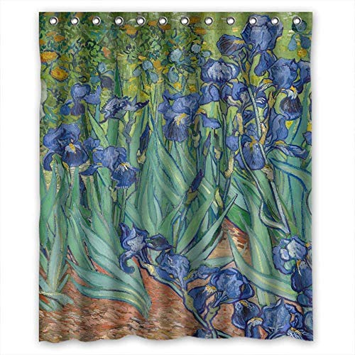 Healthy Polyester Shower Curtain Art Painting Vincent Willem Van Gogh Irises 1889 Size Width