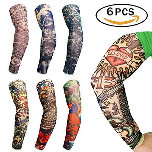 f8e4a36b8 Xiton Fashion Temporary Tattoos Seamless Elastic Sunscreen Sleeves for Men ( 6 Packs)