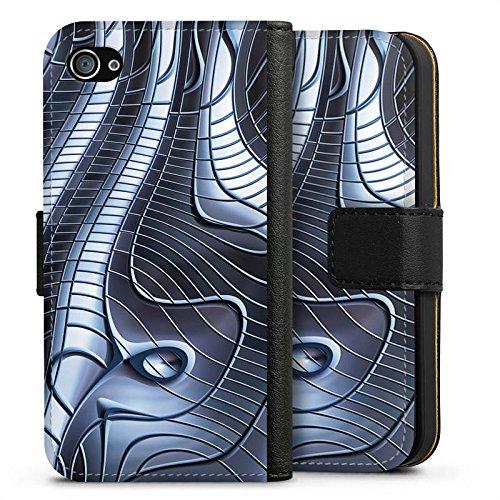 Apple iPhone X Silikon Hülle Case Schutzhülle Metall Eisen Struktur Sideflip Tasche schwarz