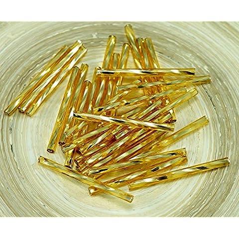 50pz x 30mm Extra Lungo Medium Oro Argento Foderato girò di Vetro ceco Perline Bugle PRECIOSA Tubi