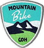 Club-of-Heroes 2 x Stick Abzeichen 55 x 60 mm/Mountain-Bike/für MTB Radtouren Alpencross Transalp Downhill/Gestickte Applikation Aufnäher Aufbügler Flicken Bügelbild Patch (türkis)