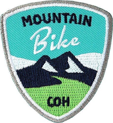 Club of Heroes 2 x Stick Abzeichen 55 x 60 mm/Mountain-Bike/für MTB Radtouren Alpencross Transalp Downhill/gestickte Applikation Aufnäher Aufbügler Flicken Bügelbild Patch (türkis)