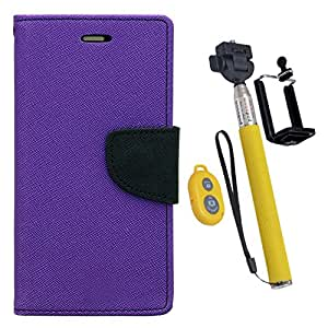 Aart Fancy Diary Card Wallet Flip Case Back Cover For HTC816 - (Purple) + Remote Aux Wired Fashionable Selfie Stick Compatible for all Mobiles Phones By Aart Store