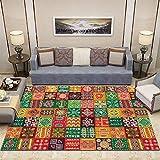 Insun Teppich mit Bordüre Moderner Abwaschbarer Kurzflor Teppich Fußmatten fürs Wohnzimmer Esszimmer Schlafzimmer Kinderzimmer Stil 1 120x180cm
