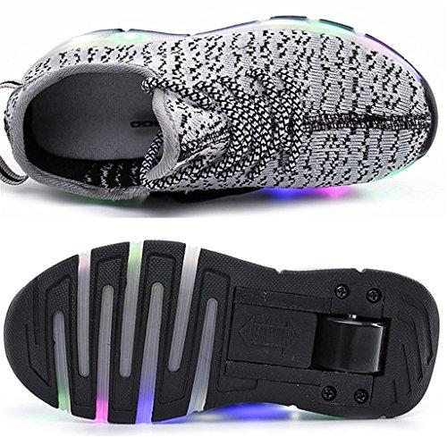 NEWZCERS Unisexe adulte enfant LED clignotant patins à roulettes chaussures sport fonctionnement formateurs sport roue chaussures Gris