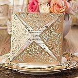 VStoy goldene Einladungskarten, lasergeschnitten, für Hochzeit, Verlobung, Geburtstag, Brautparty, Babyparty Umschlag und Siegel, 20Stück gold