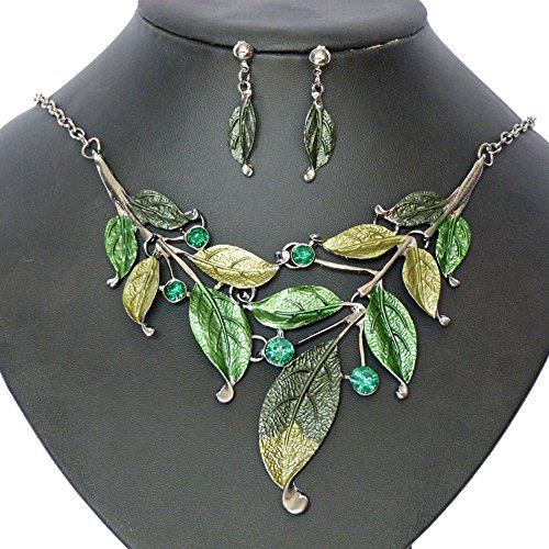 S&E Frauen Blatt Halskette & Ohrring Set Kette mit Ohrstecker Modeschmuck für Fasching Karneval Kostüm Charm Schmuck Set (Grünen Kostüm Schmuck Halsketten)
