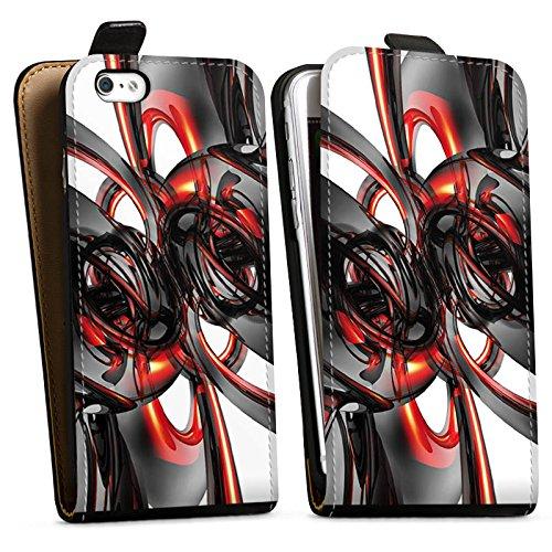 Apple iPhone X Silikon Hülle Case Schutzhülle Strudel Lack Glanz Downflip Tasche schwarz