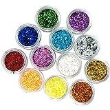 Nail Art Glitter DANCINGNAIL 12 Colori 3D Del Gel UV Hexagon...