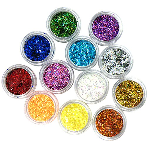 Nail Art Glitter DANCINGNAIL 12 Colori 3D Del Gel UV Hexagon Lucido Polvere Glitter Per Arte Del Chiodo Di Disegno Della