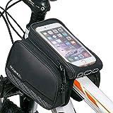 WOTOW Radfahren Rahmen Pannier Phone Halter, 3in 1wasserdicht Top Front Tube Doppel Tasche Handy Halterung für 14,5cm Handy