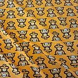 Stoff Baumwolle Meterware gelb Affe braun Jersey weich warm Meterpreis