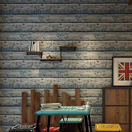 QJBZHI Retro Nostalgische Holzimitat Planke Querstreifen Tapete Wand Wohnzimmer Dekoration 3D Wand 10. Meter (Lang) X 0.53 Meter (Breite)