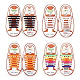 4 Paire Lacets Elastiques No Tie Lacets pour Chaussures Enfants Adultes Pratique Imperméables Silicon Etanche sans Laçage pour Sports Shoes Sneaker Conseil Bottes (Black + White + Orange + Rainbow)