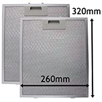 SPARES2GO Cooker Hood Metal Grease Filter (Silver, 320 x 260mm, Pack of 2)