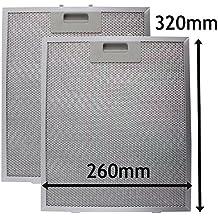 Spares2go Malla Metálica Filtro para Bosch Neff Siemens Campana extractora/extractor ventilación (Pack de 2filtros, Plata, 320x 260mm)