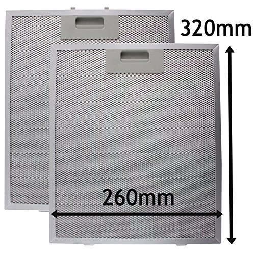 Spares2go Universal Dunstabzugshaube Metall Fettfilter (Silver, 320 x 260mm) (2 stück)