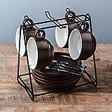 TBSB Besteck Keramik Kaffee Kaffeeservice Austragsrechen einfache Cappuccinocup mit Saucer 145ml, braun 4