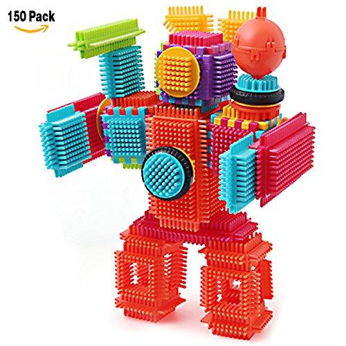 NEEDOON 150pcs Kleinkind Spielzeug Kunststoff Konstruktions Bausteine für Kinder Kreatives Spielzeug mit Eimer